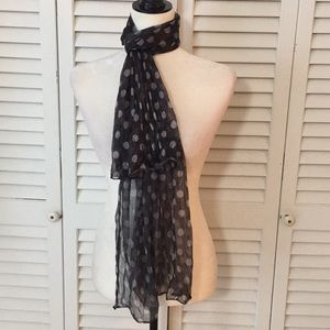 Unbranded Gray and White Polka Dot Scarf